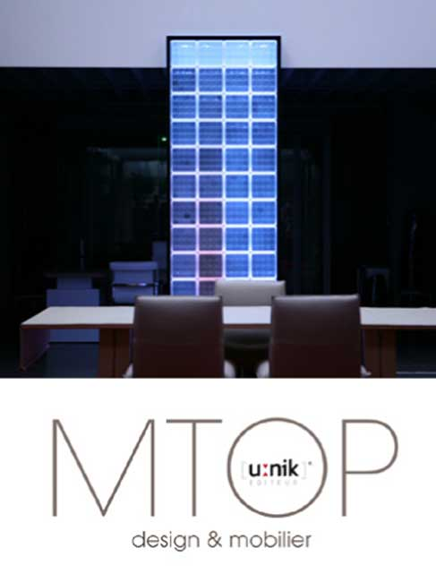 Mur de séparation, transparenet et lumineux en brique de verre design et lumière LED. Separation wall, transparenet and bright glass brick design and LED light.